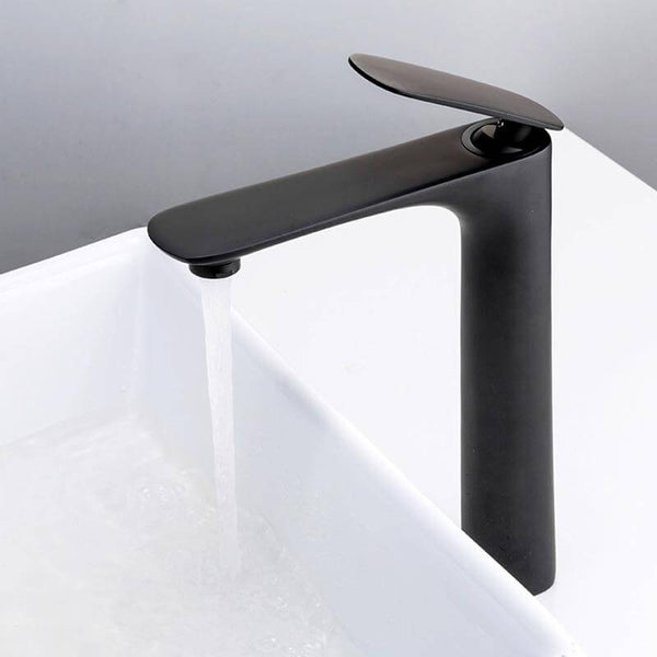 Black Brass Basin Faucet Single Handle Waterfall Basin Mixer Tap Hot & Cold Bathroom Faucets Sink Waterfall Faucet - WELQUEEN