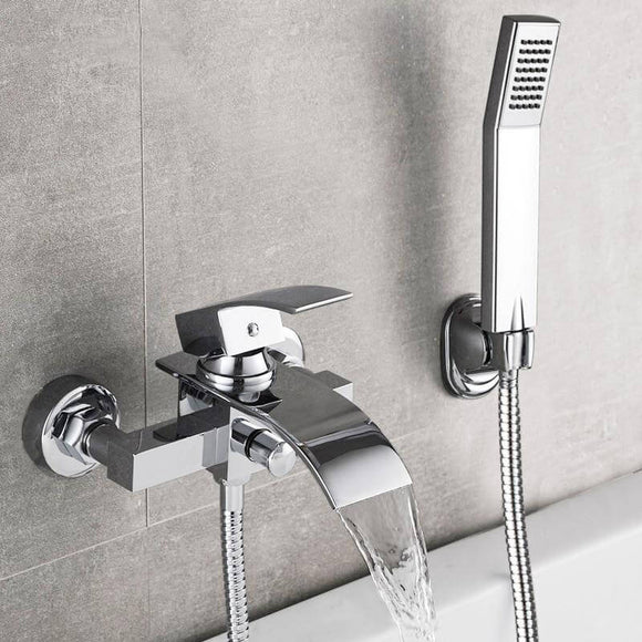 Bathtub Shower Set Wall Mounted Waterfall Bath Faucet | Bathroom Cold and Hot Mixer Taps Brass Chrome - WELQUEEN