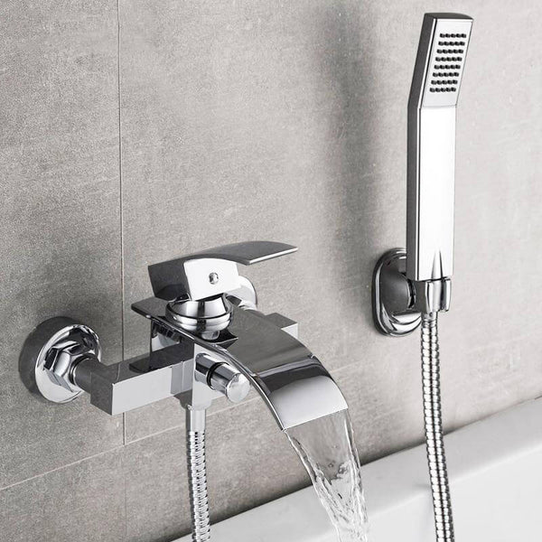 Bathtub Shower Set Wall Mounted Waterfall Bath Faucet | Bathroom Cold and Hot Mixer Taps Brass Chrome