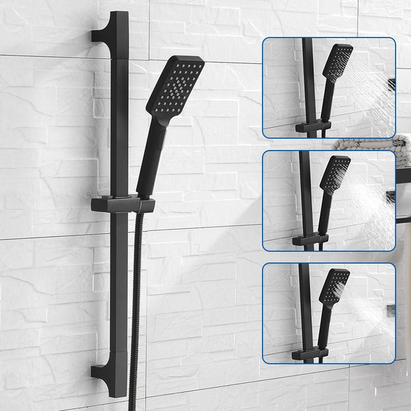 High Quality Black Shower Sliding Bar Wall Mounted Shower Bar Adjustable Sliding Rail Set 3 Function Shower Minimalist Style - WELQUEEN