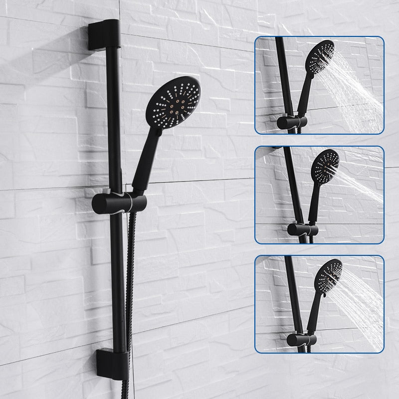Adjustable 3 Function Black Shower Riser Slide Bar with Hand Held Shower & Hose Wall Mount Shower Sliding Bar Set - WELQUEEN
