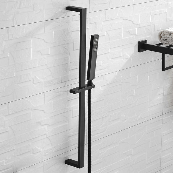 High Quality Square Solid Brass Matte Black Sliding Bar Shower Set Wall Mounted Adjustable Slide Bar with Shower Minimalism - WELQUEEN