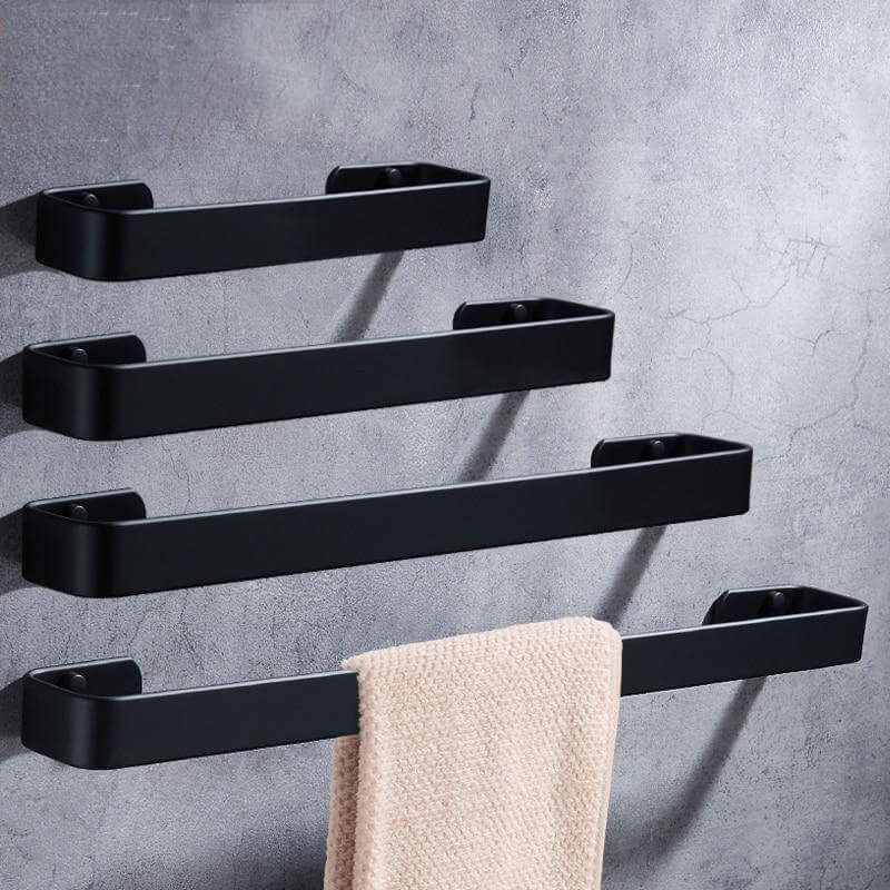 Towel Bar Black Space Aluminum Wall Mounted Single Washroom Towel Rack Hanging Holder Accessories Bathroom Towel Holder Square - WELQUEEN