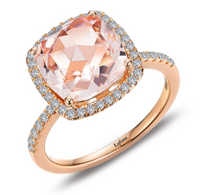 SQUARE ROSE CUT MORGANITE RING