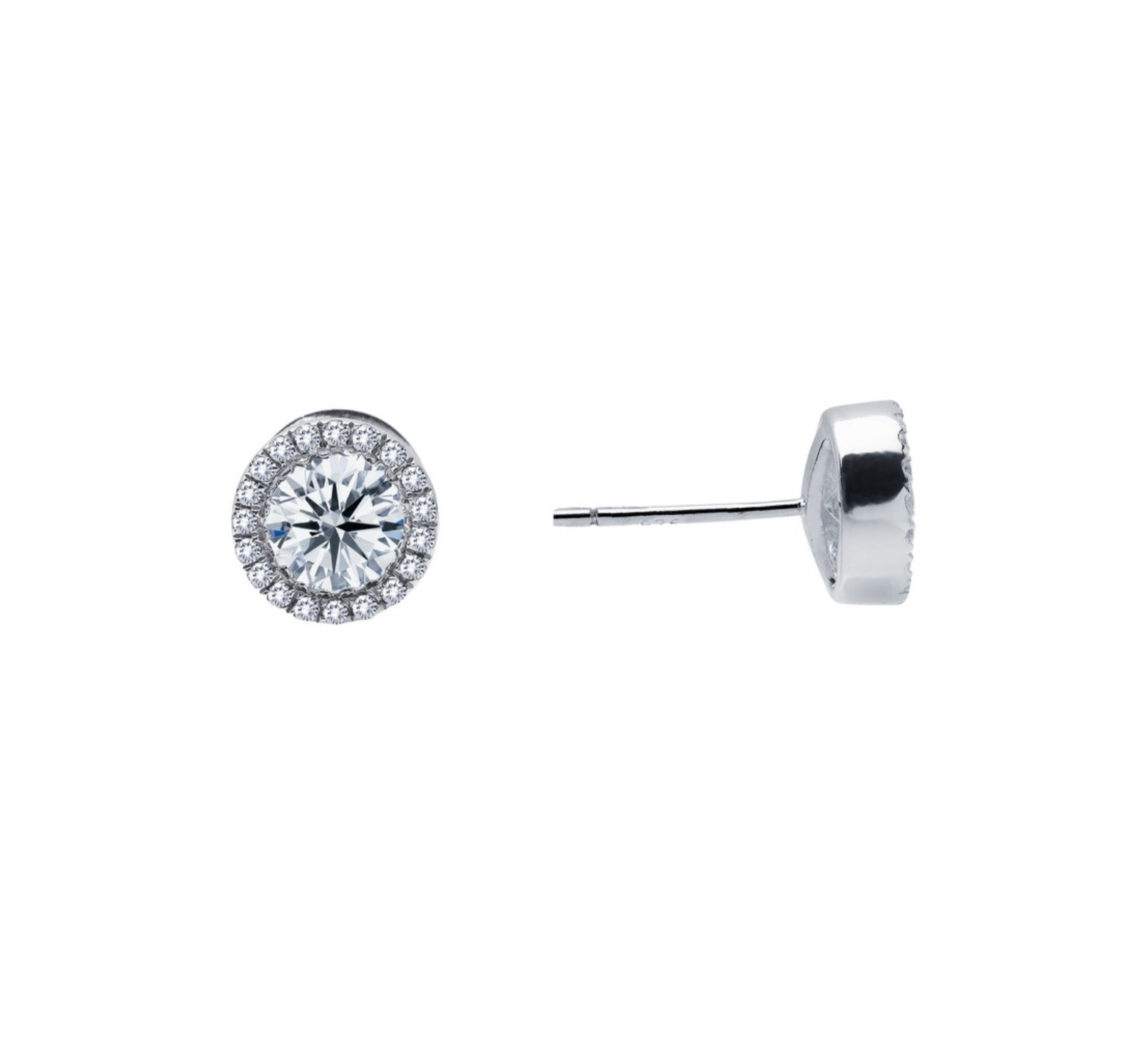 0.8 CT TW HALO STUD EARRING