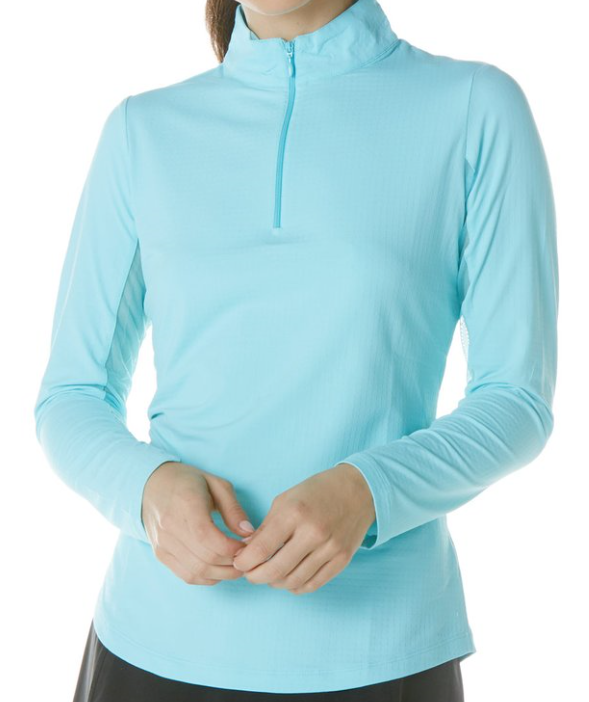 SOLID LONG SLV MOCK NECK TOP SEAFOAM
