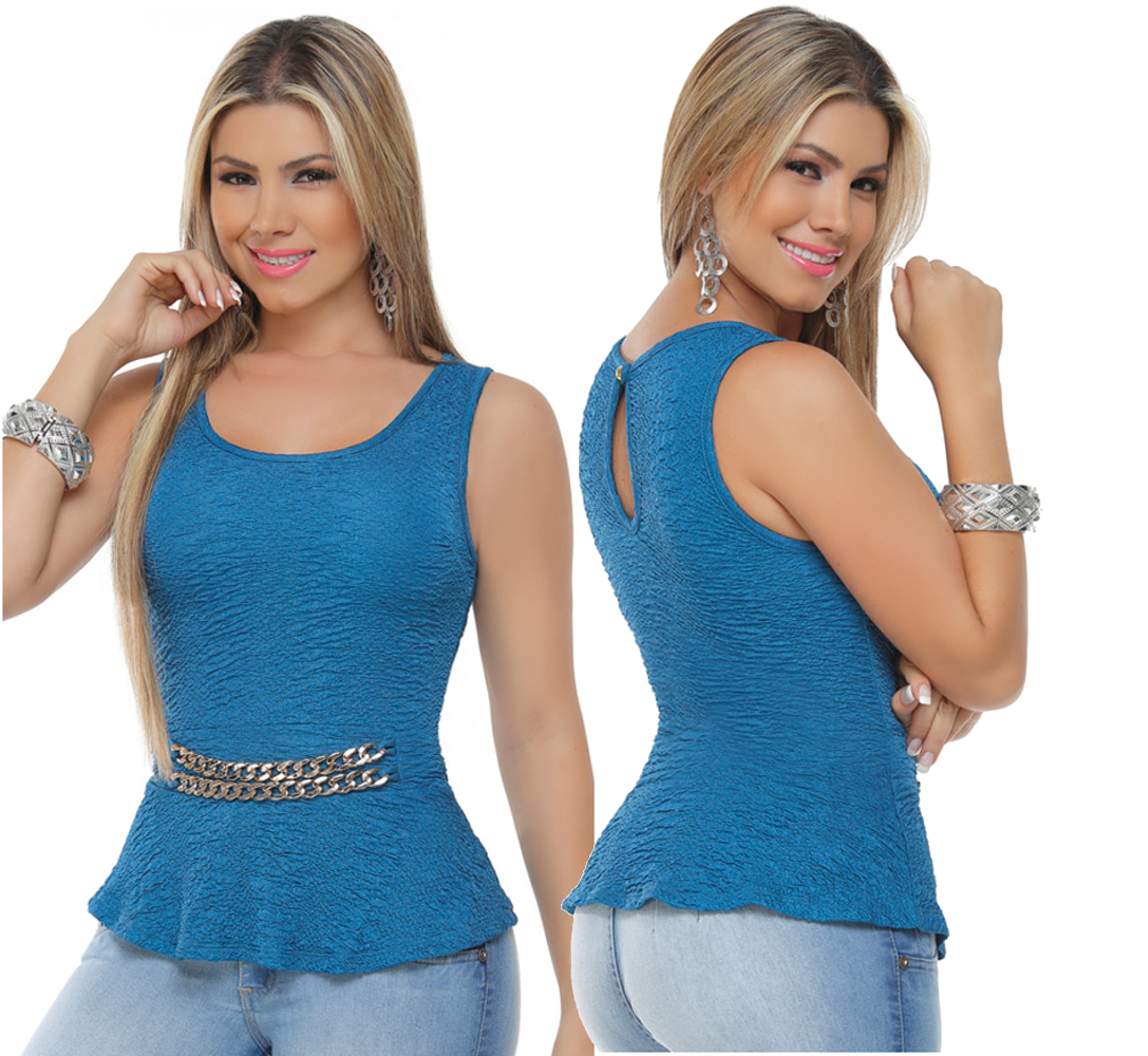 Blue Sleeveless Clubwear Top