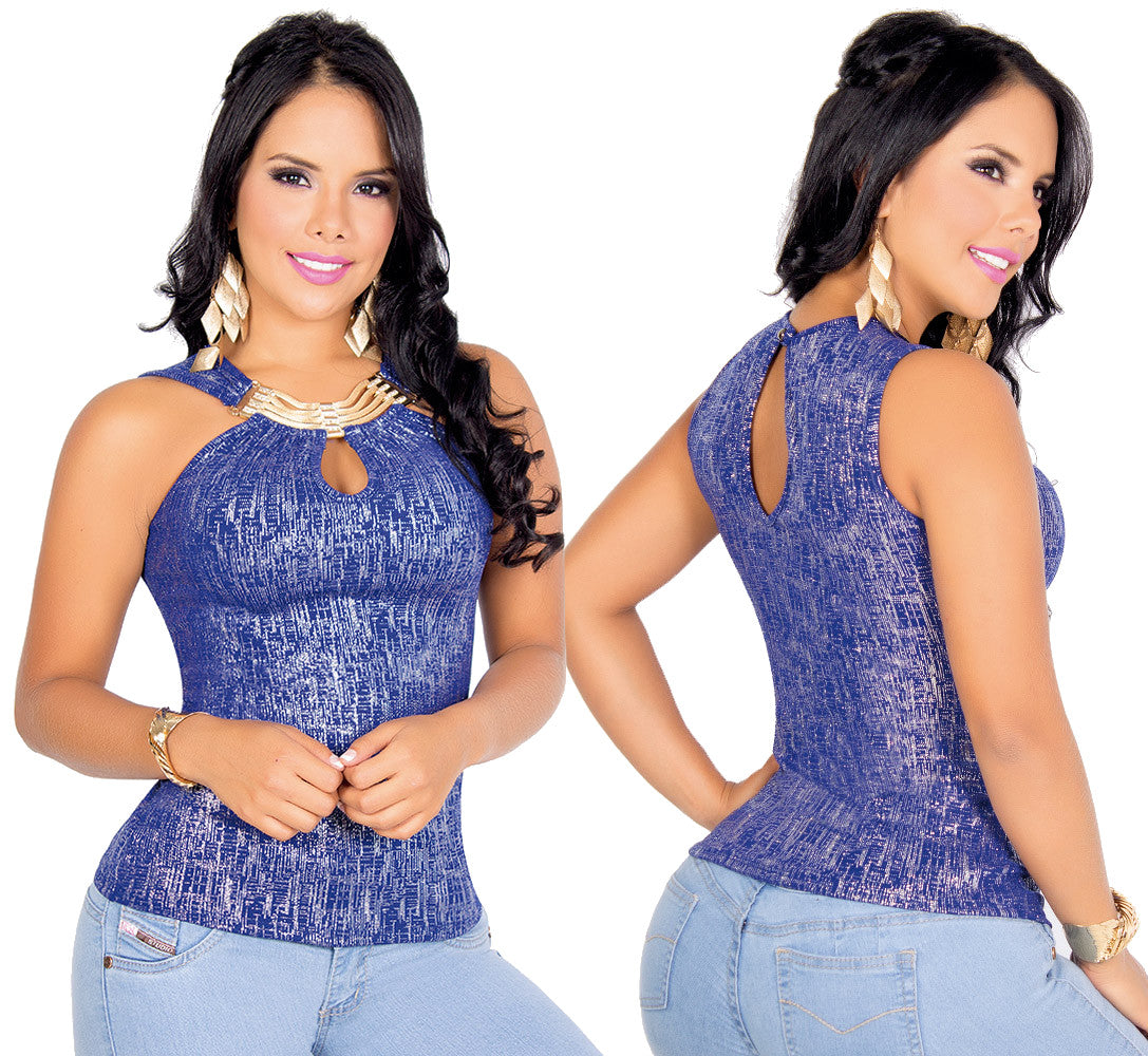 Blue Gold Glitter Fabric Dressy Top