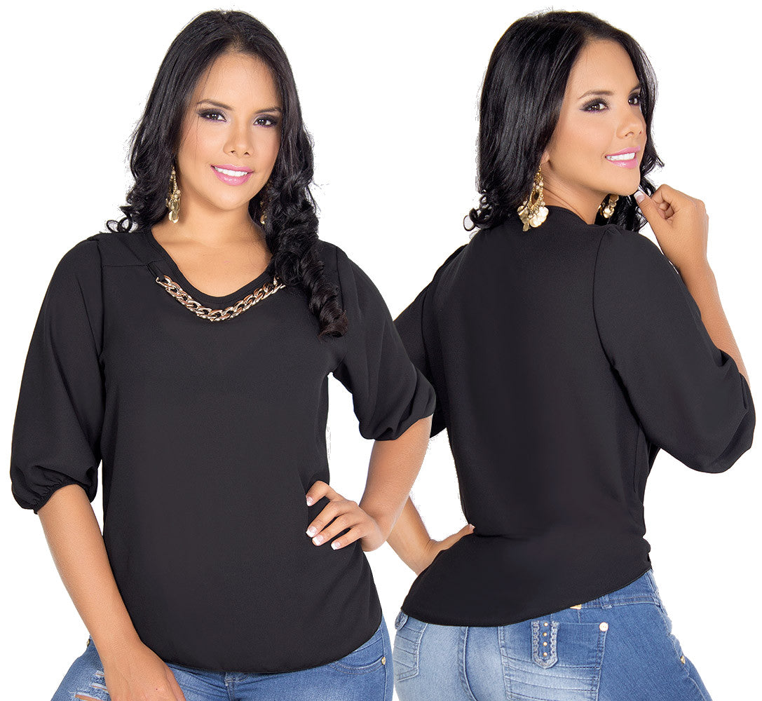 Black Elegant Colombian Blouse