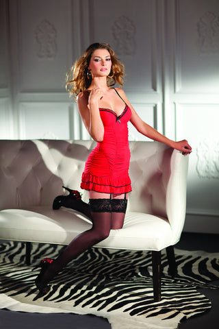 Red Ruched Body Chemise