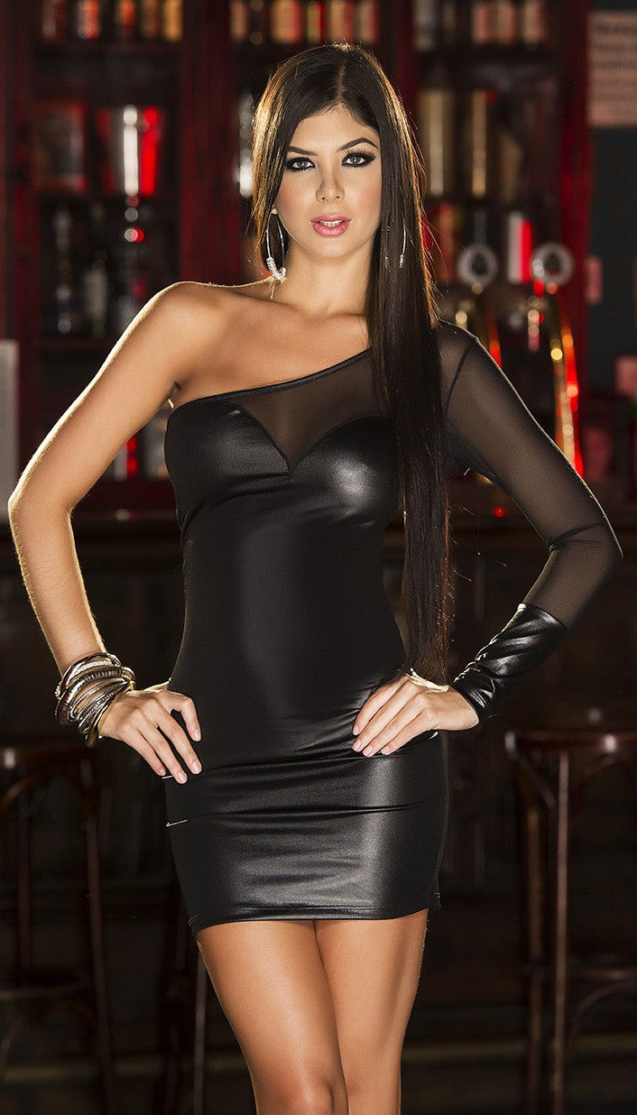 Sensual One Shoulder Wetlook Dress