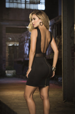 Black Cross Front Mini Dress