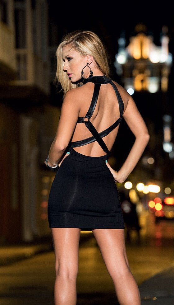 Black Sexy Halter Bodice Dress