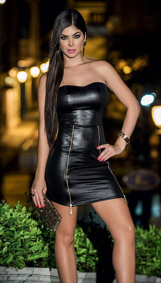 Black Strapless Wetlook Mini Dress