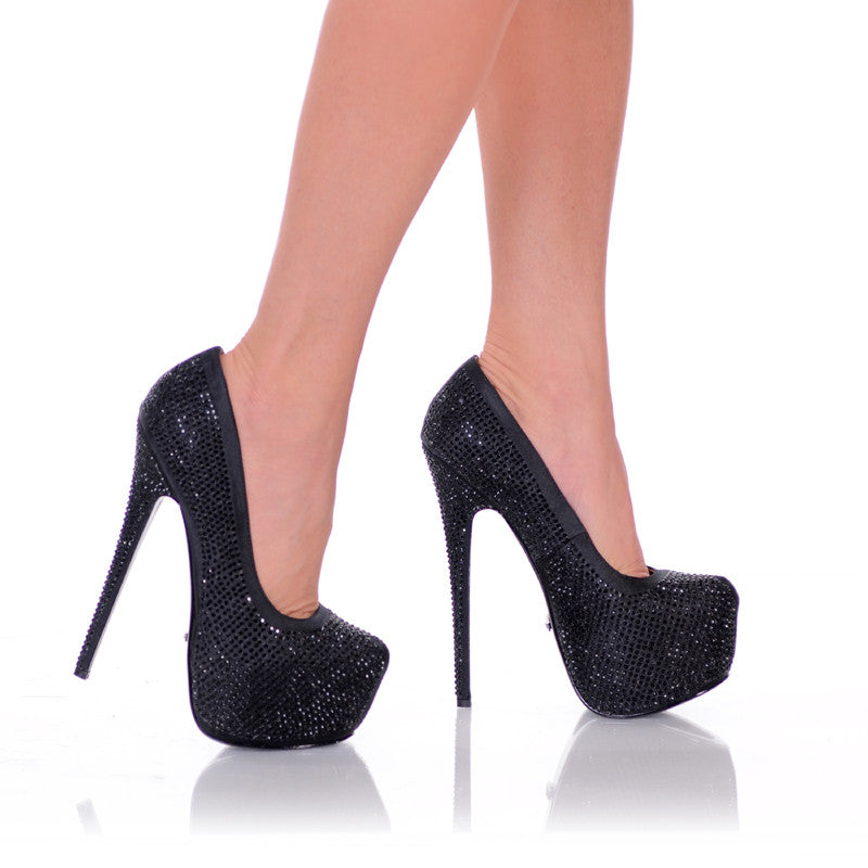Black Satin Rhinestone Pump Pair
