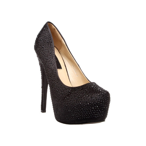 Black Satin Egyptian Rhinestone Pump