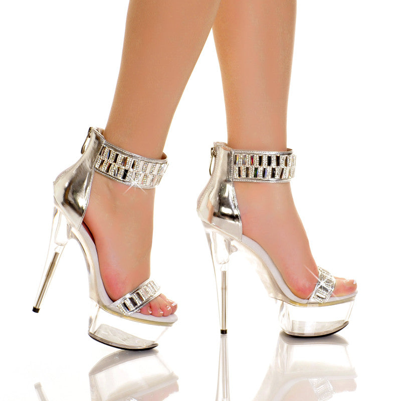 Silver Metallic Diamond Ankle Cuff Platform