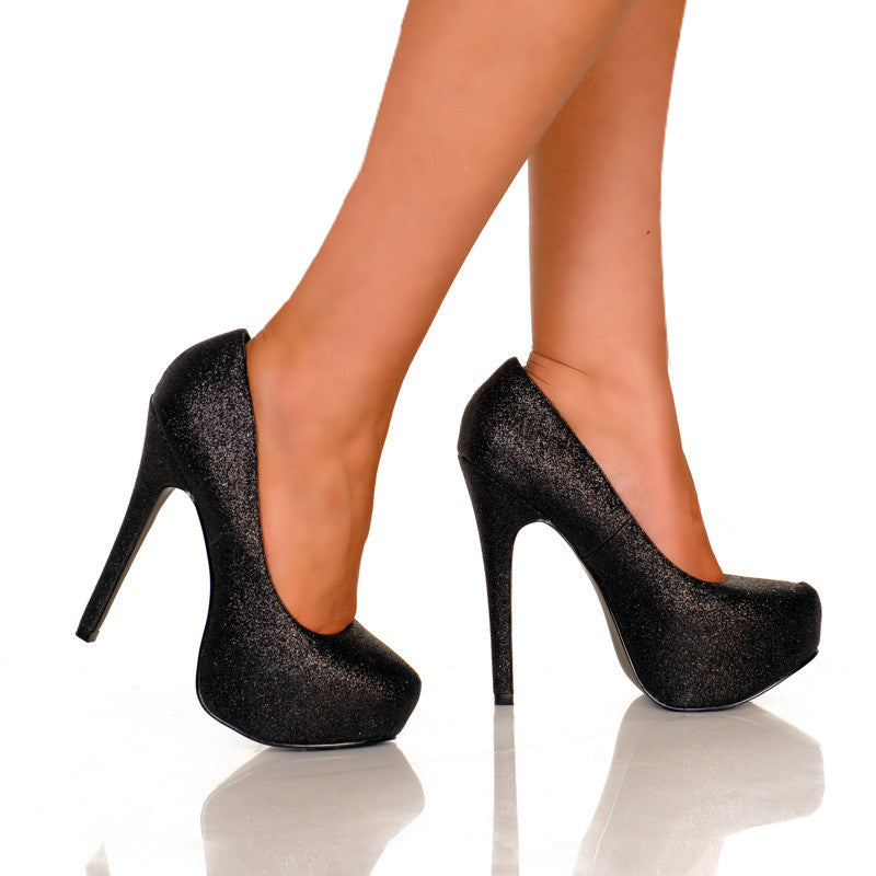 Black Glitter Platform Pump Pair