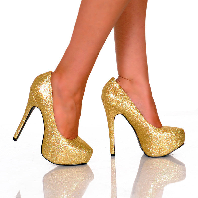 Gold Glitter Platform Pump Pair