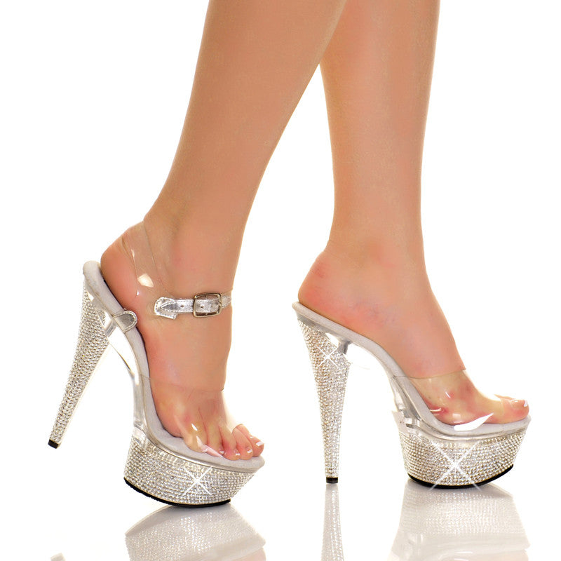 Diamond Covered Clear Platform Heels