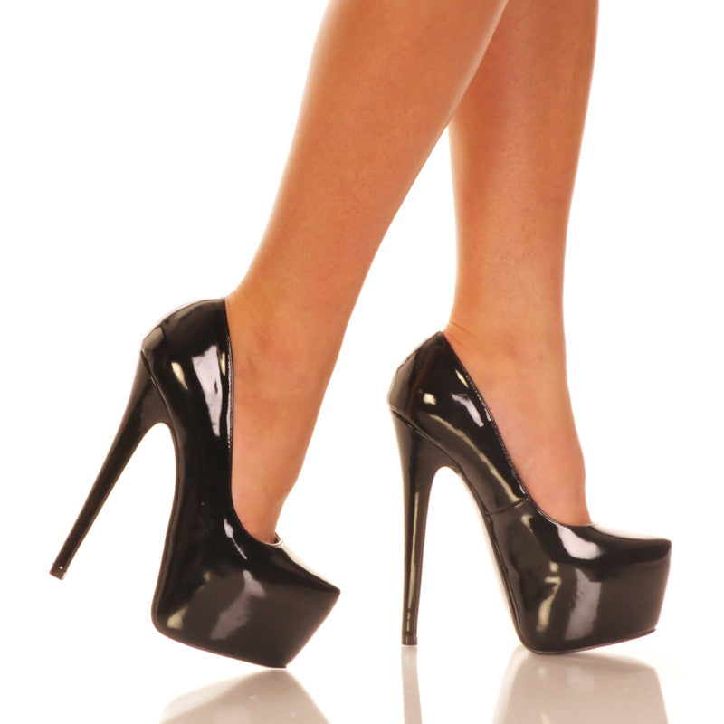 Black Patent PU Platform Pump Pair