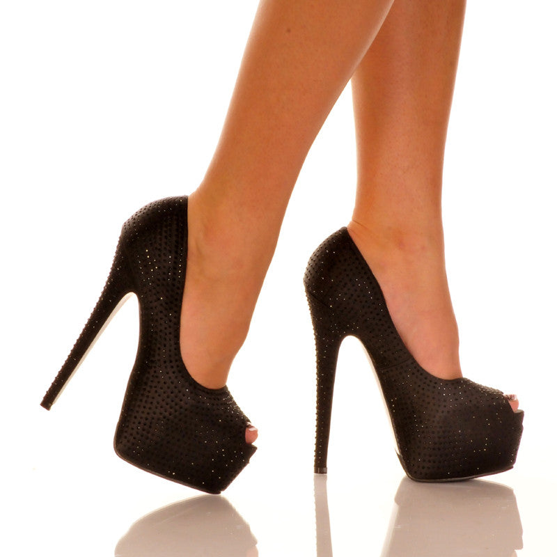 Black Peep Toe Pump Pair