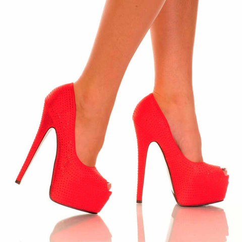 Red Peep Toe Pump