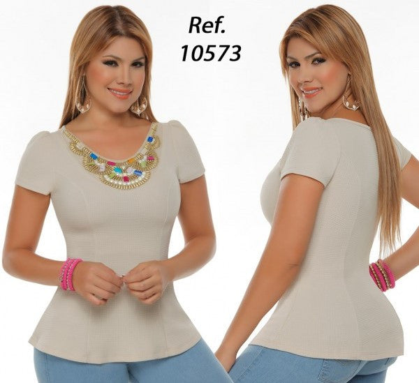 Beige Beaded Peplum Top