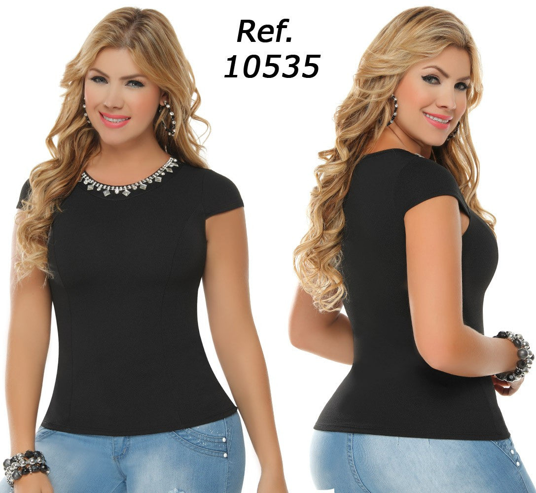 Black Rhinestones Short Sleeves Top