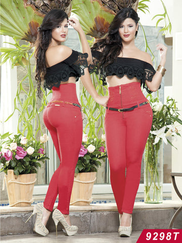 Red Sexy High Waist Push Up Jeans