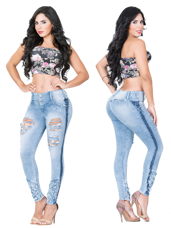 Light Blue Distressed Booty Jeans Cheviotto