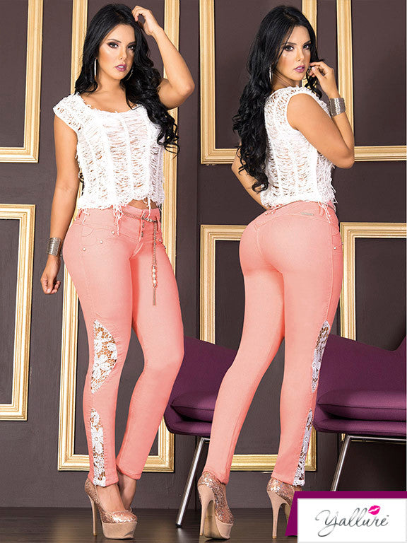 Peach Colored Lace Bum Up Jeans