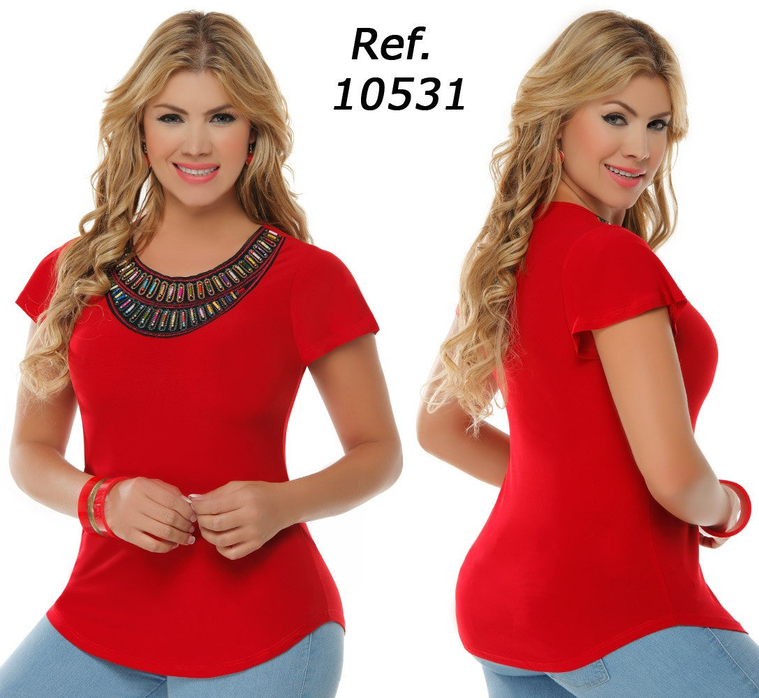 Red Beaded Short Sleeves Top