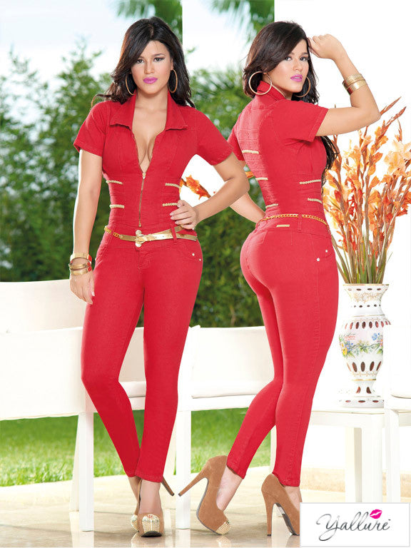 Sexy Red and Gold Jumpsuit