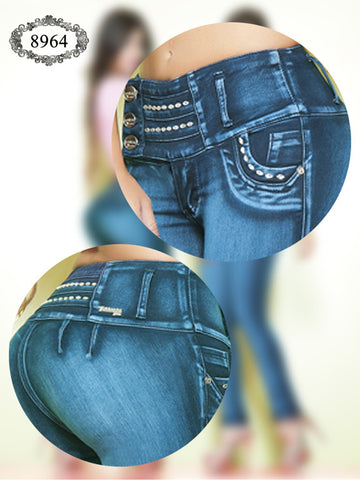 Turquoise Blue Butt Shaping Jeans
