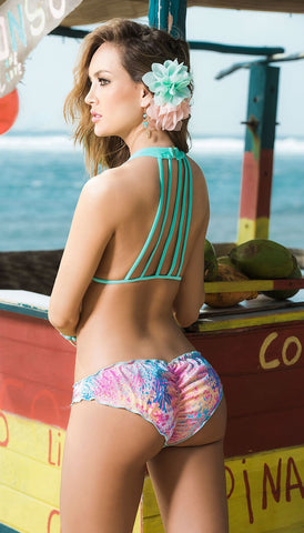 Two Piece Halter Top and Printed Wavy Bottom
