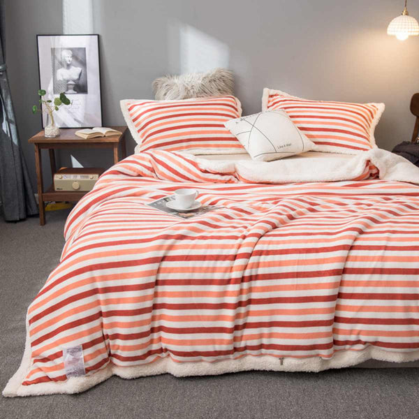 3PCS/SET Luxury Double sided Flannel Blanket Winter Coral Cover Hot Super Warm Soft Throw Blankets Pink Blankets