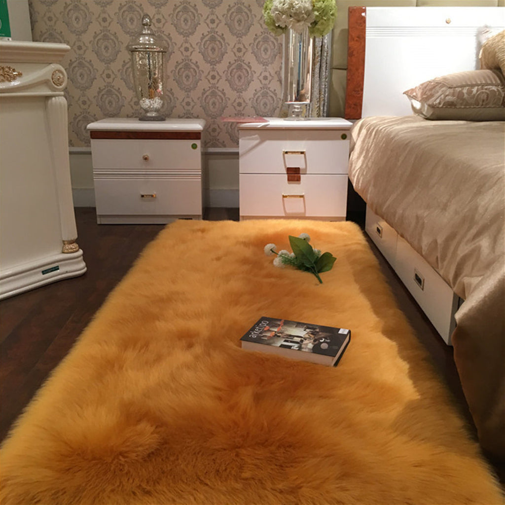 Faux Wool Plush Rug Soft Shaggy Carpet Home Floor Area Mat Decoration
