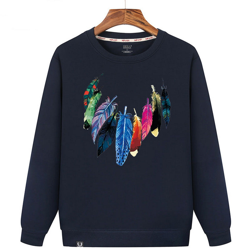 Autumn And Winter Warm Sweater, Navy Blue Bottom And Multicolor Feathers