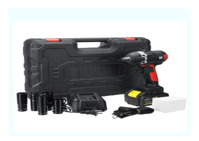 198VF Electric Cordless Brushless Power Wrench Drill Driver W/ 3x Conversion Head & 6x Sleeve Set