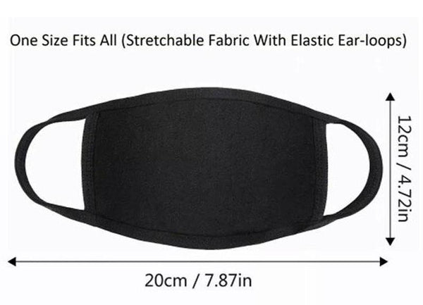 100% Cotton Black Face Mask Washable Triple-Layer Reusable Unisex