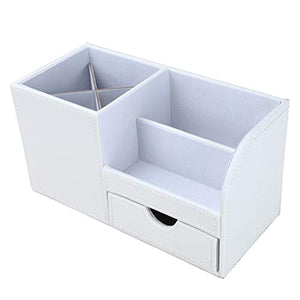 KINGFOM Desk Organiser Tidy Caddy Leather Pen Pencil Pots Holder Stationery Storage Office Desktop Supplies Organisers with Drawer White - iBuy Africa