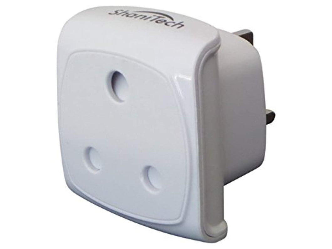 ShaniTech South African Visitor to UK Earthed 3 Pin Compact Adaptor - White - Refer to Description for country list - iBuy Africa