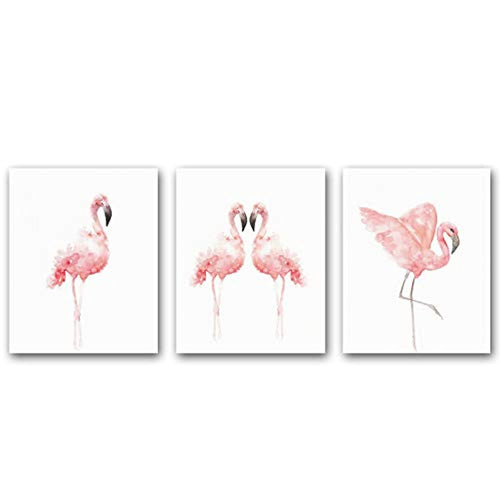 "KARTME Nordic Flamingo Wall Art Print Set Of 3 (8""X10"") Canvas Watercolor Animals Painting Modern Wall Decor For Nursery Cafe Wall Decor, No Frame - iBuy Africa"