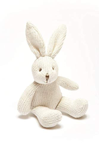 Best Years Knitted Organic Cotton White Bunny Rabbit Baby Rattle.  Suitable from Birth - iBuy Africa