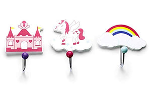 Mousehouse Gifts set of three children's kids Unicorn themed single wooden coat hooks wall hooks - iBuy Africa
