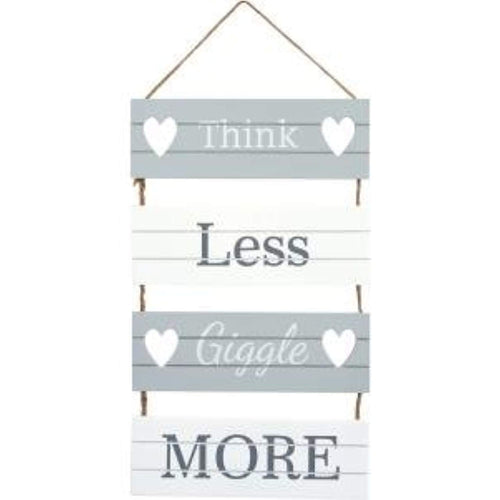 'Think Less, Giggle More' Hanging Slatted Sign - iBuy Africa