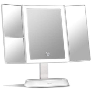 Fancii Large Makeup Mirror with Natural LED Lights, Lighted Trifold Vanity Mirror with 5x & 7x Magnifications - Dimmable Lights, Touch Screen, Cosmetic Stand (Sora) - iBuy Africa