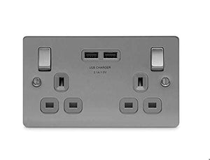 BG Electrical SBS22U3G Screwed Flatplate Brushed Steel Double Switched 13A Power Socket With USB Charging - 2X USB Sockets (3.1A) Grey Insert - iBuy Africa