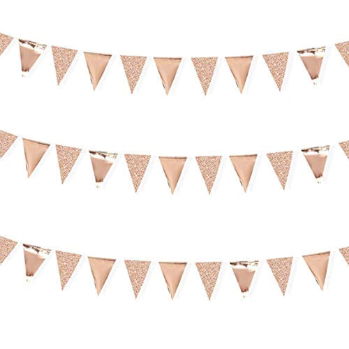 30 Feet Double Sided Glitter Paper Triangle Flag Bunting Pennant Banner for Birthday Holiday Wedding Anniversary Bridal Shower Hen Party Theme Party Supplies Decorations(Glitter+Metallic Rose Gold) - iBuy Africa